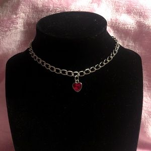 2/$15! Handmade Red Gemstone Heart Chain Choker